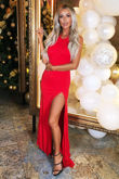 Amara Long Gown in Red