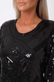 Havana Sequin Mini Long Sleeve Shift Dress in Black