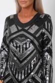 Havana Sequin Mini Long Sleeve Shift Dress in Black & Silver