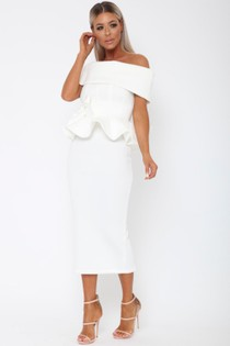 Tammy Bardot Midi Two-Piece in White