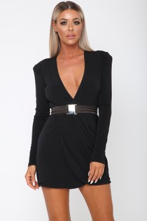 Sade Long Sleeve Mini Dress in Black
