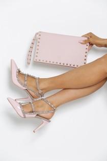 Studded Envelope Clutch Bag in Pink
