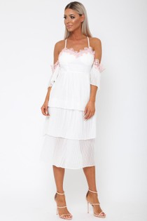 Maddie Tiered Pleated Lace Midi Dress in White
