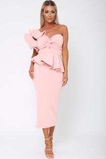 Michelle Bardot Midi Two-Piece in Pink