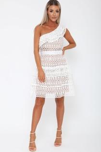 Tobi One-Sleeved Dress in White
