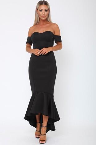 Annie Bardot Midi Fishtail Dress in Black