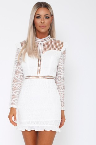Tiby Long Sleeve Lace Mini Dress in White