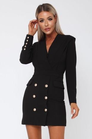 Blair Blazer Dress in Black