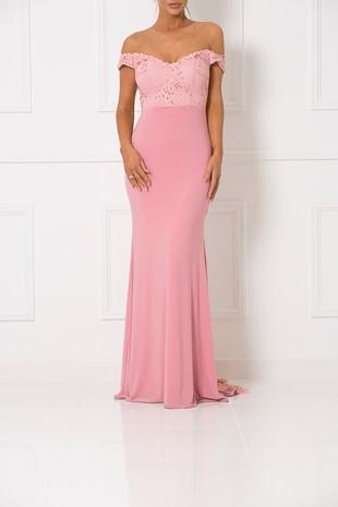 Bardot Lace Train Gown in Blush