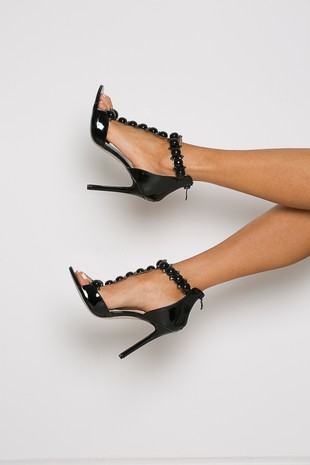 Lucia Studded Patent Leather Sandals in Black