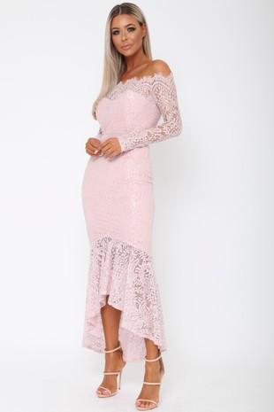 Madina Lace Bardot Fishtail Dress in Pink