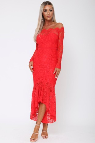 Madina Lace Bardot Fishtail Dress in Red
