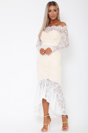 Madina Lace Bardot Fishtail Dress in White