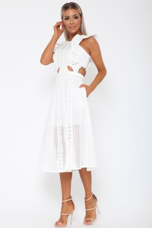 Mischa Cutout Midi Dress in White