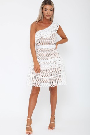 Tobi One-Sleeved Dress in White
