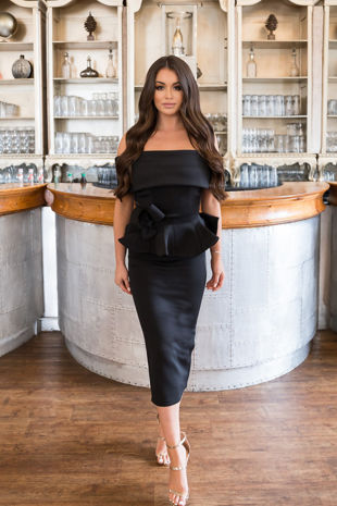 Tammy Bardot Midi Two-Piece in Black