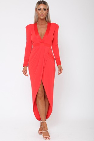 Victoria Plunge Midi Dress with Shoulder Pads in Red