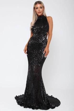 Bella Sequin Long Gown in Black