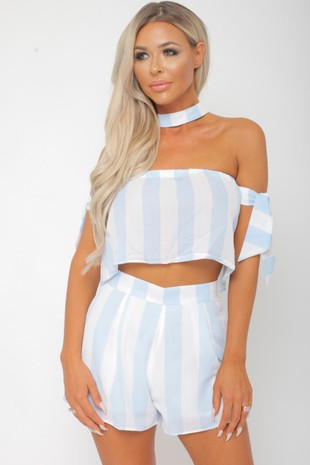 Freya Two Piece in Blue/White