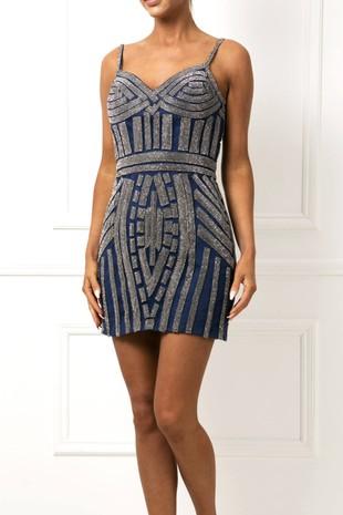 Short Gatsby Sequin Mini Dress in Navy