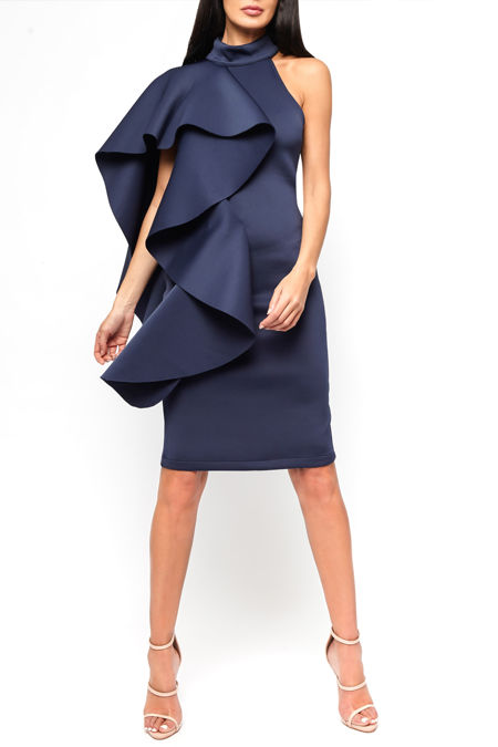 Ferne One Shouldered Cape Midi Bodycon Dress in Navy