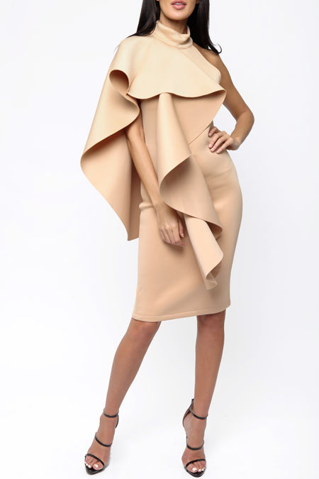 Ferne One Shouldered Cape Midi Bodycon Dress in Nude