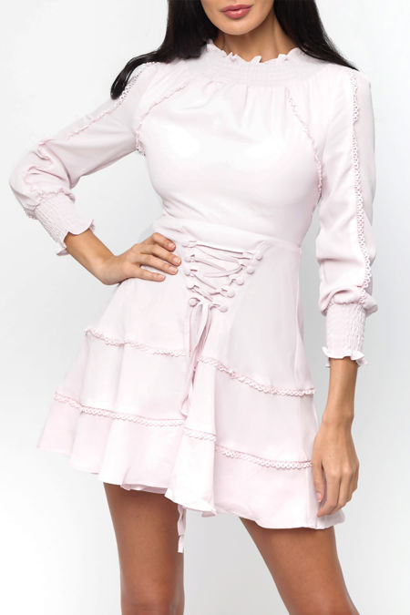 Tori Lace Up Mini Dress in Baby Pink
