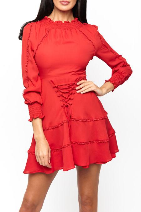Tori Lace Up Mini Dress in Red