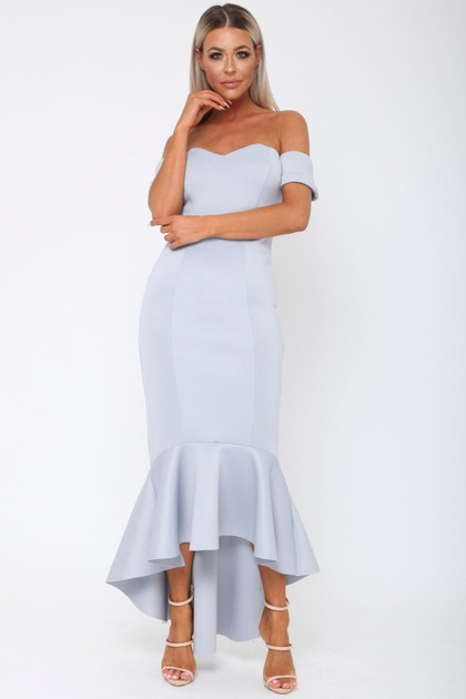 Annie Bardot Midi Fishtail Dress in Grey