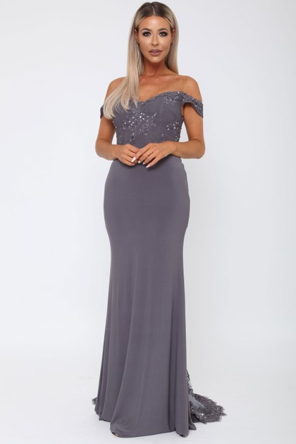 Bardot Lace Train Gown in Charcoal