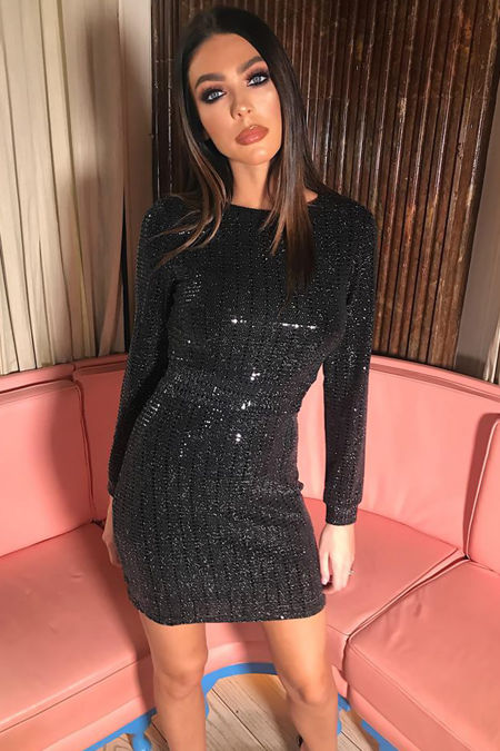 Alexa Black Sparkle High Neck
