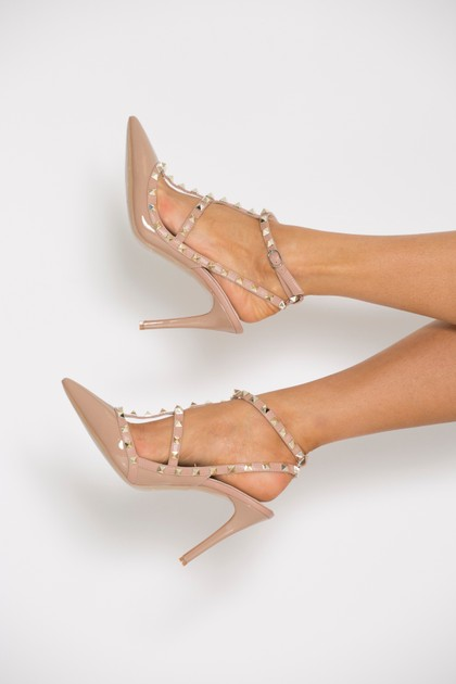 Studded Heels in Nude