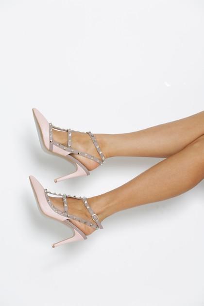 Studded Heels in Pink Matte