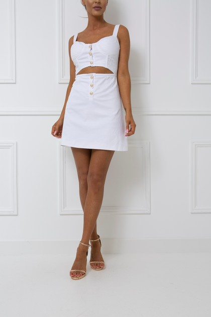Tobi Two Piece Skirt & Crop Top Set in White