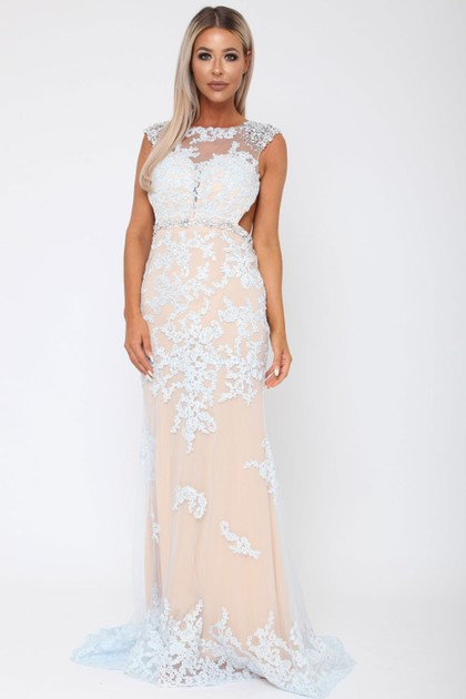 Charlotte Long Gown in Ice Blue