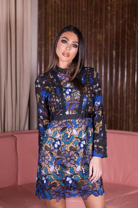 Adele Floral Print Long Sleeve Lace Mini Dress