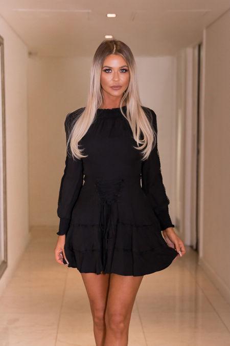 Tori Lace Up Mini Dress in Black