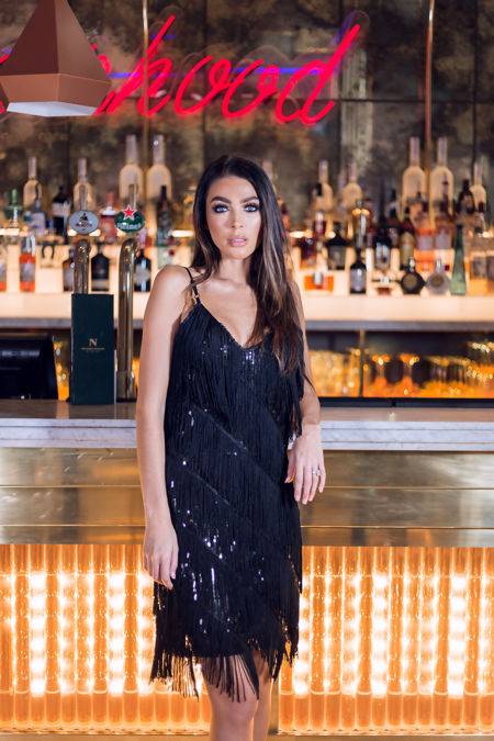 Marnie Black/Black Sequin Tassle Dress