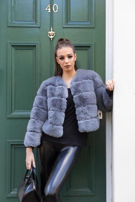 Lani Faux Fur Jacket in Grey