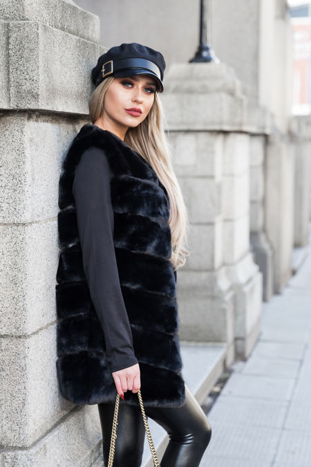 Lauren Faux Fur Short Gilet in Black
