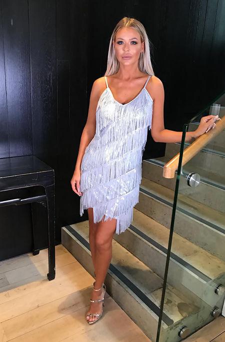 Marnie Silver Sequin Tassle Dress