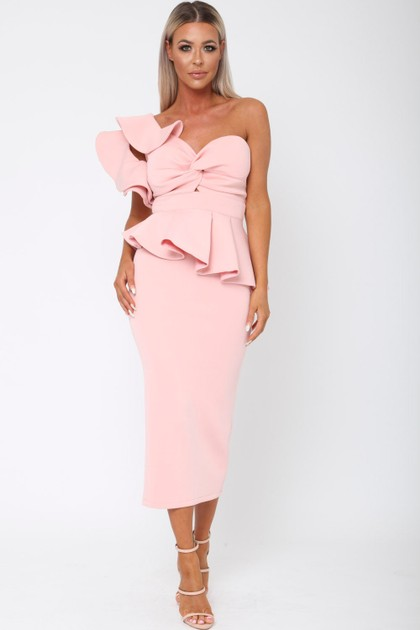 Michelle Bardot Midi Two-Piece in Pink