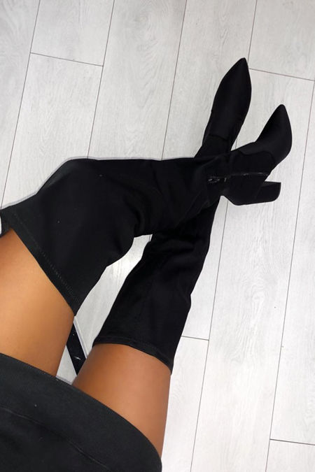 Amy Lycra Over the Knee Boots in Black