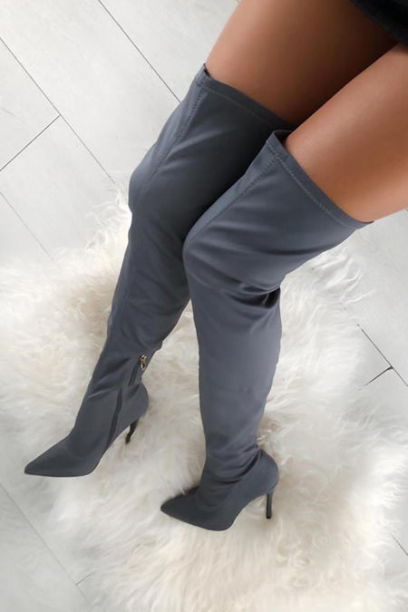 Olivia Lycra Over the Knee Boots in Grey