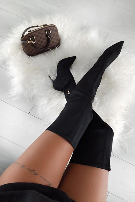 Olivia Lycra Over the Knee Boots in Black