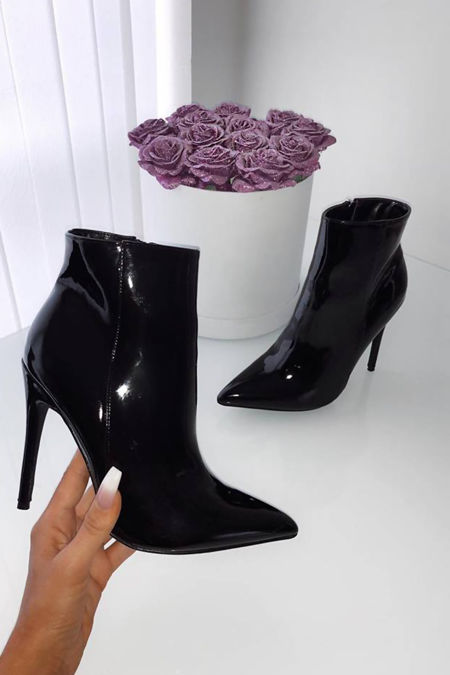 Ava Patent Stiletto Heeled Ankle Boots in Black