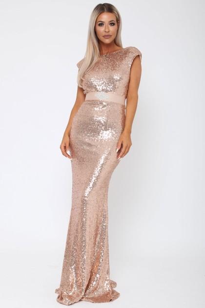 Sequin V Back Gown in Rose Gold