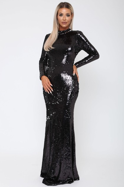 Vivienne Sequin Long Sleeve V Back Gown in Black