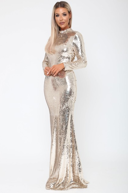 Vivienne Sequin Long Sleeve V Back Gown in Gold