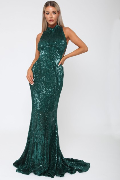 Bella Sequin Long Gown in Emerald Green